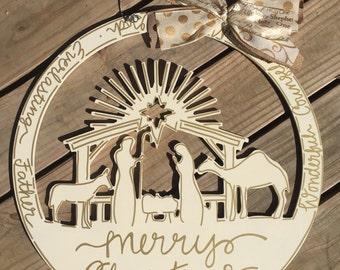 Christmas natvity door hanger with hand lettering