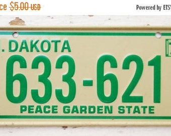 ON SALE Vintage, North Dakota, 1979, Bike Plate, Bicycle, License Plate, Cereal Premium, Miniature, Tin, Embossed, Collectibles