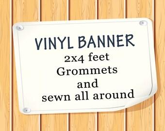 Personalized 2x4 Vinyl Birthday Banner