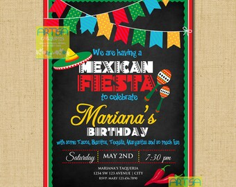 Mexican Fiesta Invitation, Cinco de Mayo Invitation, Mexican Party Invitation, Mexican Theme Invitation ANY OCCASION, 5 de Mayo Celebration