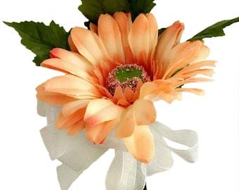 Peach Silk Daisy Corsage - Wedding Corsage Prom