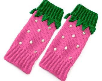 Cute Berry Legwarmers Pastel Pink Girls Leg Warmers Fairy Kei Crochet Strawberry Legwarmers Womens Knit Boot Socks Boot Cuffs Gift for Her