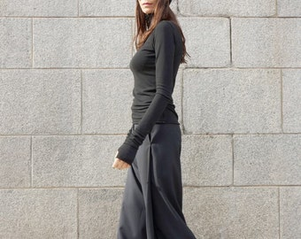 NEW Loose Black Pants / Wide Leg Pants /Extravagant Trousers Side Pockes / Belt Button and Zipper waistline /HandMade by Aakasha A05555