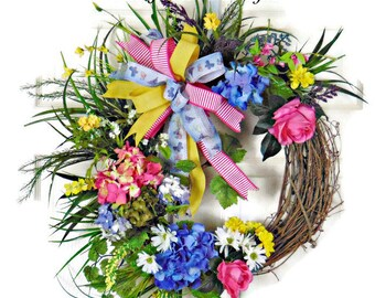 Summer Floral Grapevine Wreath, Blue Hydrangea Wreath, Summer Hydrangea Wreath, Hydrangea Grapevine Wreath, Pink Rose Wreath, Door Wreath