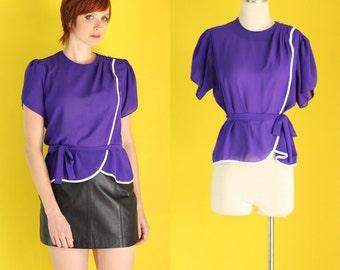 Vintage 80s Purple Blouse - Peplum Top - Flutter Sleeve Top - Pleated Sheer Blouse - Belted Top - Short Sleeve Blouse - Size Medium