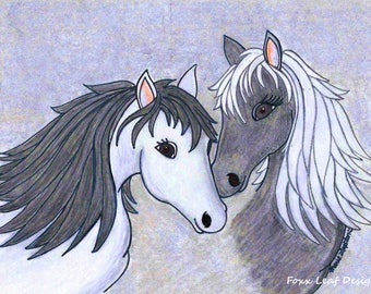 Horses / Salt and Pepper Greeting Cards - Note Cards. Includes White Envelopes. Blank Inside.