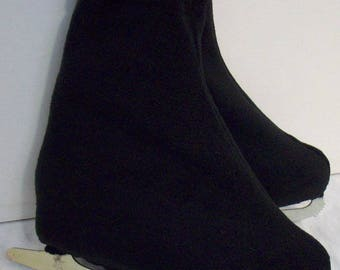 Melvage's Ice Skate Boot Warmers & Hockey Slip-overs  (BLACK ONYX) Size 7-10