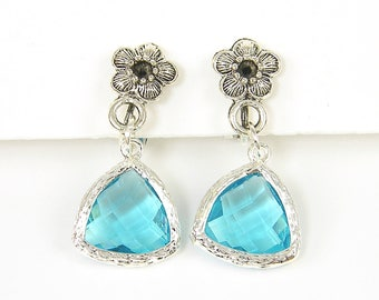 Aqua Blue Clip Earrings with Silver Flower and Silver Framed Triangle Drop |AB2-5