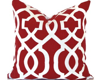 Pillow Outdoor Pillows Outdoor Pillow Covers Decorative Pillows ANY SIZE Pillow Cover Red Pillow Outdoor Kirkwood Red