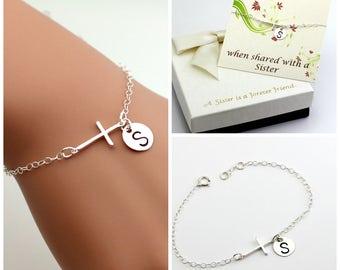 Sterling silver cross bracelet, monogram bracelet, Personalized bracelet. Sister bracelet. Mother bracelet, best friend brac