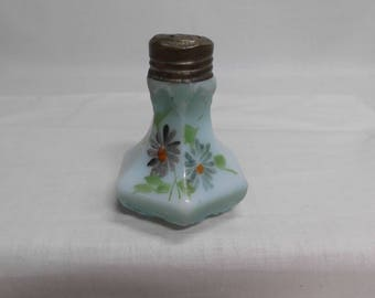 Antique Opaque Glass Salt Shaker Hand Painted Hexagon with Raised Leaf Design on Corners Greenish Blue /Original Metal Top Victorian Shaker
