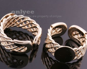 10PCS-8.5mm Bright Gold Plated Brass Free Size Adjustable RING 10mm Blank Base For Deco pad Ring (E367G)