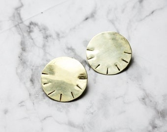 RA - brass disc earrings