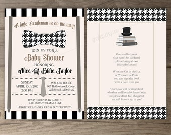 Little Man Baby Shower Invitations • Bow Tie Suspenders Top Hat • book instead of a card • printable Invites