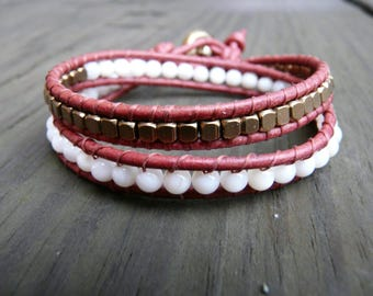 Burgundy red, white and bronze leather wrap bracelet.