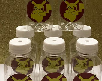 12- Pokemon Pikachu 8 oz or 12 oz Vinyl Cup Plastic Milk Bottles with Lids