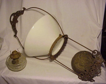 c1870s Country Store Tavern Victorian Bradley & Hubbard Chain Run Hangling Peg Oil Lamp with Milkglass shade and Peg Oil Lamp Font