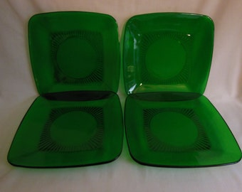 "Anchor Hocking Charm Forest green Square 8 1/4"" Dinner Plates set of 4 offers considered"
