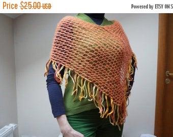 ON SALE Poncho Scarf shawl wrap crochet knit Shawl orange mesh net fringe fishnet ooak neckwarmer handmade soft angora mohair wool openwork