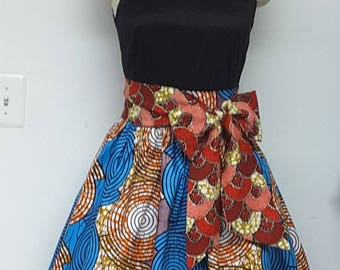 Fully lined Skirt with Inside Pockets. Detachable Sash.  Attached Petticoat. Womens. Handmade. African Prints.