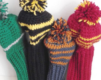 Golf Club Covers Crocheted Harry Potter Hogwarts Set of All 4 House Colors Ready to Ship