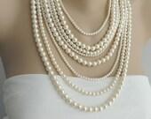 Cyber Monday Sale - Multi Strand Pearl Necklace - Layer pearl necklace - Statement Necklace - pearl jewelry, chunky necklace - Bib Necklace