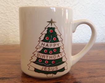 Vintage Happy Birthday Jesus Coffee Mug
