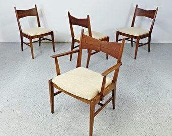 SALE set 4 rare mid century modern Lane Tuxedo walnut rosewood inlay dining chairs