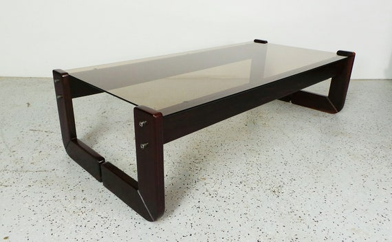mid century modern Percival Lafer Brazilian rosewood and tinted glass coffee table