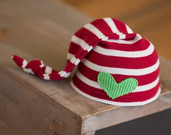 Newborn Christmas Hat Upcycled Sleep Cap Red and White Striped with Green Heart READY TO SHIP photography prop Newborn Boy Hat Knot Hat Elf