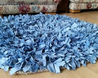 Blue Denim Rag Rug Crocheted Jute base. Upcycled jeans. Clip rug. Snip rug. Shag rug. Proggy Mat. Latch hook. Bulged rectangle.