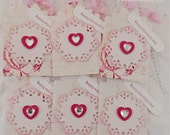 Valentine's Day Gift Tags, Valentine Tags, Heart Tags, Happy Valentine's Day Tags, Love Tags, Party Favor Tags - Set of 6
