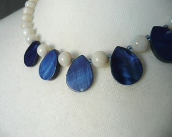 Blue agate necklace - blue and cream agate necklace - semi precious stone necklace - blue and white stone necklace