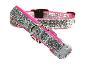 "Silver Bling Dog Collar 5/8"", 3/4"" or 1"" Neon Pink Dog Collar"