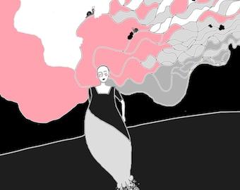 "Poetic digital drawing pink and black ""Salad"" print on canvas 20 X 20 cm"