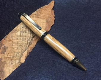 Handmade Bourbon Barrel Cigar Pen with Antique Brass hardware - made from your choice of bourbon wood flavor!
