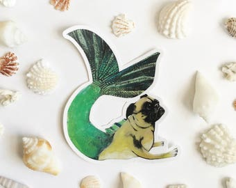 Mermaid Pug Sticker | Mermaid Dog Sticker | Vinyl Sticker | Car Sticker | Laptop Sticker | Outdoor Sticker | Phone Sticker