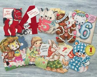 Vintage Flocked Card Lot, 1940-1958 Die Cut Cards, Antique Ephemera, Die Cut Flocked Card Set, Bear, Kitten, Pony, Lion, Turtle & the Hare