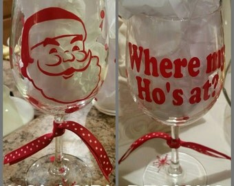 santa wine glass where my hou0027s at party favor christmas fun wine