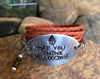 What you think you become leather wrap bracelet with hand stamped oval aluminum plate and crystal