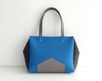 Blue Gray Felt Leather Handbag