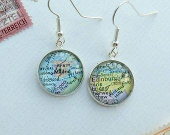 Personalised map earrings, upcycled map, gift for expats, gift for traveller, everyday earrings, travel memento, customised jewelry, world
