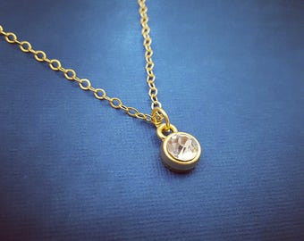 The Sparkler, Diamond Drop Necklace, Gold Jewelry, Minimalist Jewelry, Rhinestone, Simple, Everyday, Formal, Bridal, Bridesmaids