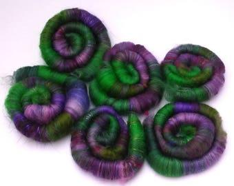 Witches' Garden Rolags. Wool, Silk, Sparkle, Merino, Etc