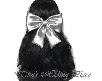 Grey Hair Bow, Grey Satin Hair Bow, Large Satin Hair Bow, Bows For Girl, Pew Grey Satin Bow, Wedding Dress Bow, Grey Kawaii Hair Bow ELWT040