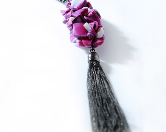 Purple Rocks Collection Long Chain Tassel Pendant