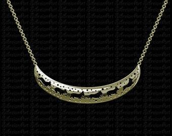 3D Pembroke Welsh Corgi crescent necklace - Gold