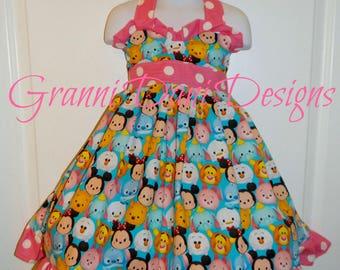 Dinsey tsum tsum halter twirl dress short sleeve  infant toddler pink white dot 12 18 24 months 2t 3t 4t 5t olaf piglet winnie the pooh