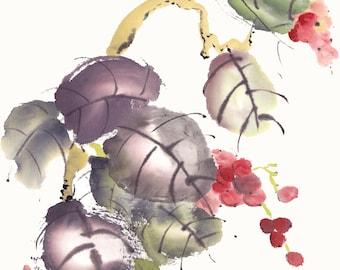 Wild Red Grapes Original Watercolor Painting Chinese Brush Artwork