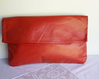 Red Leather Clutch, Bag Purse Evening Bag Fashion Chic Accessory